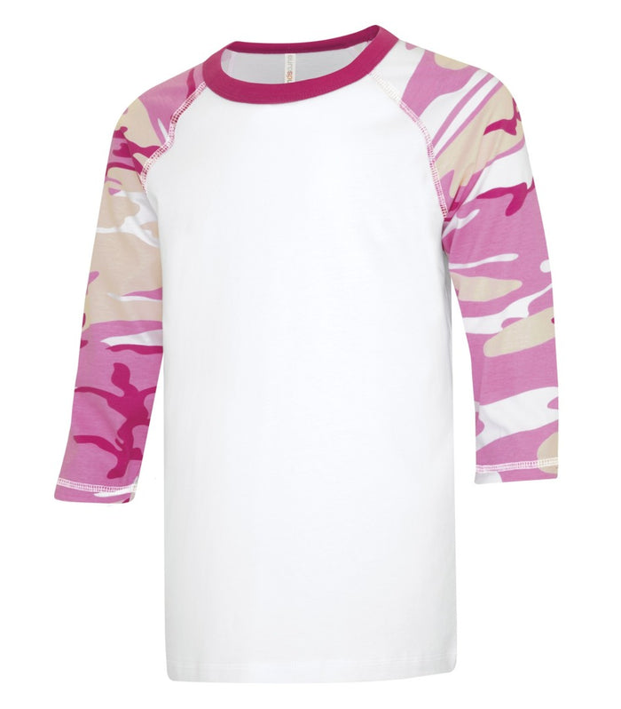 ATC EUROSPUN BASEBALL YOUTH TEE - ATC0822Y - White/Pink Camo - Ends Monday Overnight - Ready to ship Friday