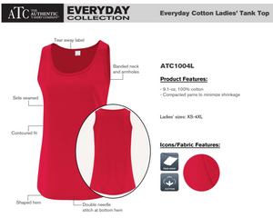 ATC Everyday Ladies Tank - ATC1004L - Red - Ends Monday Overnight - Ready to ship Friday