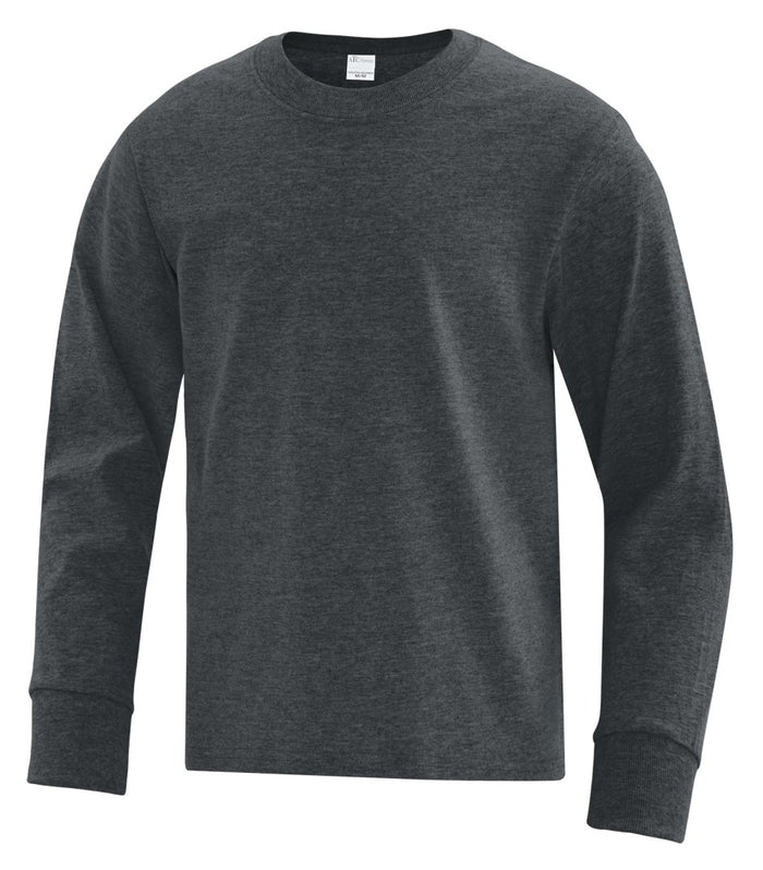 ATC Everyday Cotton Long Sleeve Youth Tee - ATC1015Y - Dark Heather Grey - ENDS MONDAY OVERNIGHT - READY TO SHIP FRIDAY