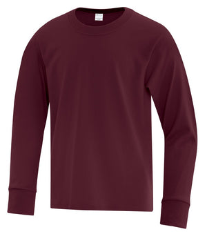 ATC Everyday Cotton Long Sleeve Youth Tee - ATC1015Y - Maroon - ENDS MONDAY OVERNIGHT - READY TO SHIP FRIDAY