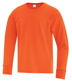 ATC Everyday Cotton Long Sleeve Youth Tee - ATC1015Y - Orange - ENDS MONDAY OVERNIGHT - READY TO SHIP FRIDAY