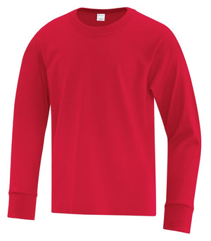 ATC Everyday Cotton Long Sleeve Youth Tee - ATC1015Y - Red - ENDS MONDAY OVERNIGHT - READY TO SHIP FRIDAY