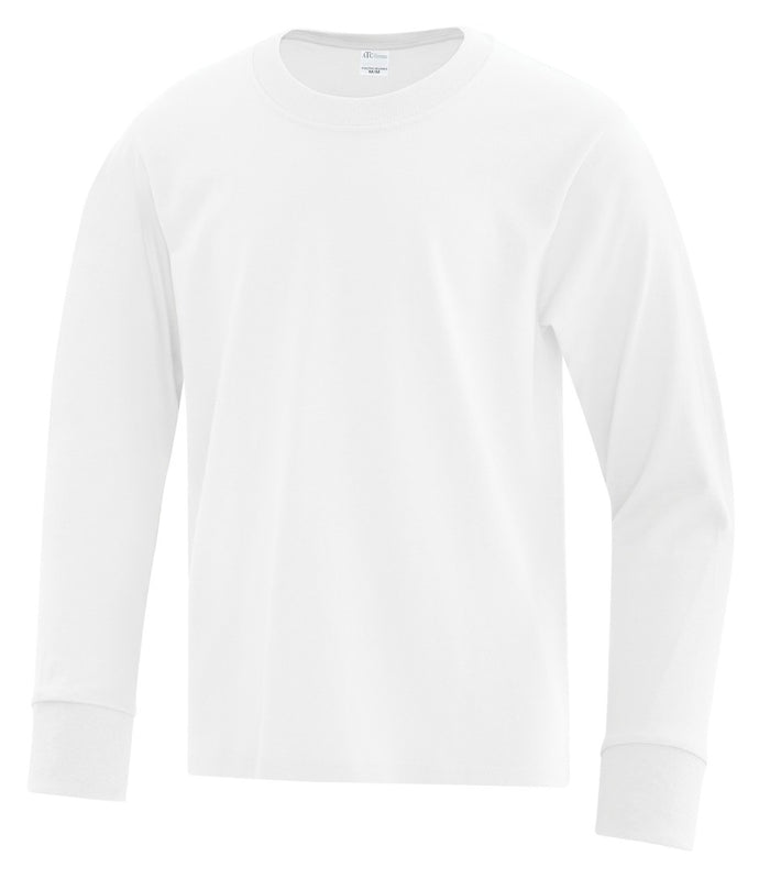 ATC Everyday Cotton Long Sleeve Youth Tee - ATC1015Y - White - ENDS MONDAY OVERNIGHT - READY TO SHIP FRIDAY