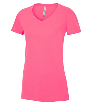 EUROSPUN RINGSPUN LADIES V-NECK - ATC8001L -  Extreme Pink - Ends Monday Overnight - Ready to ship Friday