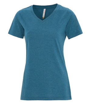 EUROSPUN RINGSPUN LADIES V-NECK - ATC8001L - Teal Heather - Ends Monday Overnight - Ready to ship Friday
