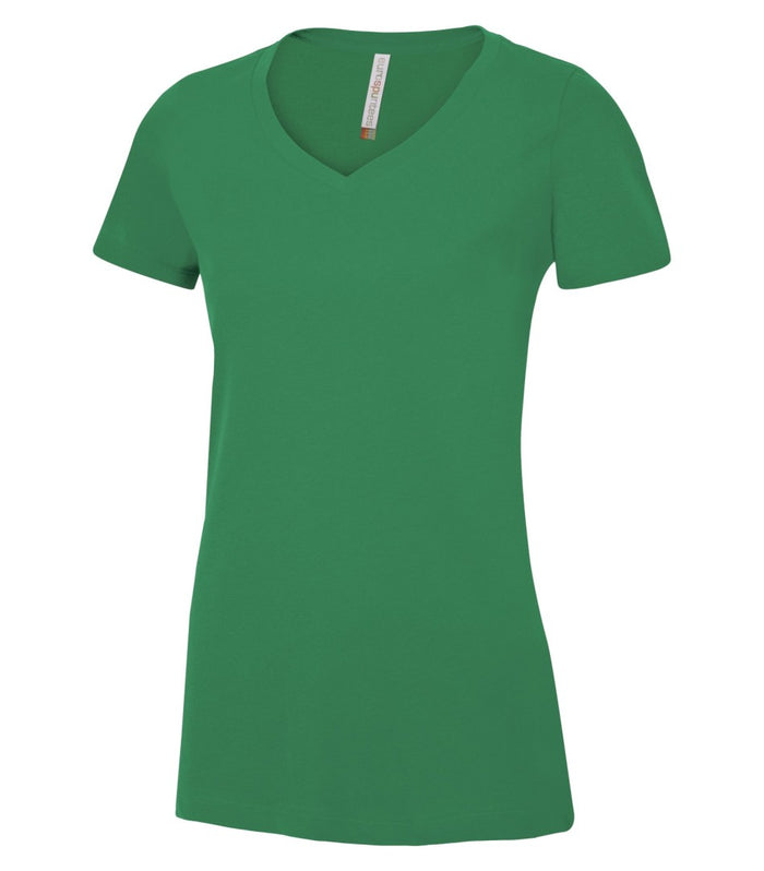 EUROSPUN RINGSPUN LADIES V-NECK - ATC8001L - Kelly Green - Ends Monday Overnight - Ready to ship Friday