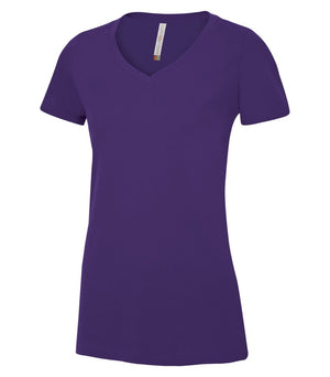EUROSPUN RINGSPUN LADIES V-NECK - ATC8001L - Purple - Ends Monday Overnight - Ready to ship Friday