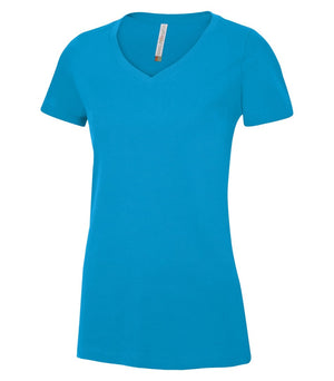 EUROSPUN RINGSPUN LADIES V-NECK - ATC8001L - Sapphire - Ends Monday Overnight - Ready to ship Friday
