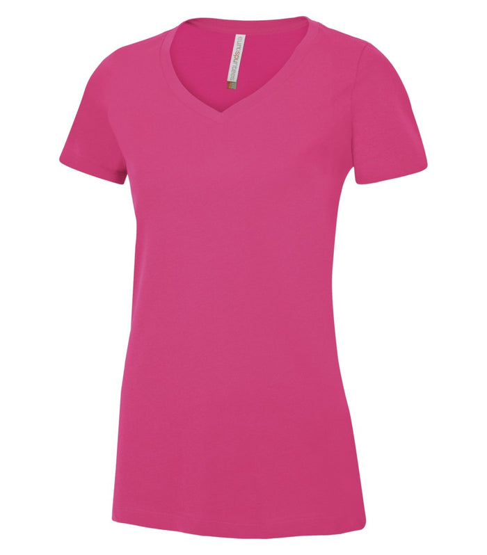 EUROSPUN RINGSPUN LADIES V-NECK - ATC8001L - Wild Raspberry - Ends Monday Overnight - Ready to ship Friday