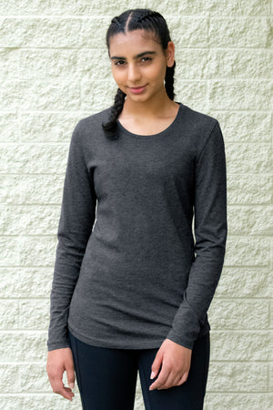 ATC Eurospun Long Sleeve Ladies' Tee ATC8015L - Charcoal Heather - Ends Monday Overnight - Ready to ship Friday