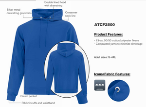 ATC Everyday Hoodie - Unisex - ATCF2500 - Royal Blue - Ends Monday overnight - Ready to Ship Friday