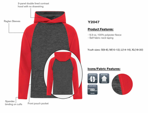ATC DYNAMIC FLEECE TWO TONE HOODIE - YOUTH - Y2047 - Charcoal/Red - Ends Monday overnight - Ready to Ship Friday
