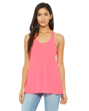 Bella + Canvas Flowy Racerback B8800 - NEON PINK - Ends Monday Overnight - Ready To Ship Friday