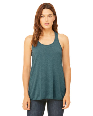Bella + Canvas Flowy Racerback B8800 - HEATHER DEEP TEAL - ENDS Monday overnight - Ready to ship Friday