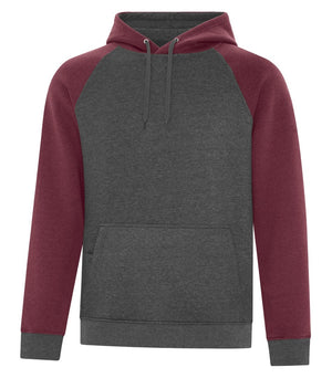 ATC Esactive Vintage Two-Tone Hoodie - F2044 - Cardinal Heather/Charcoal Heather - ends Monday night overnight - ready to ship Friday