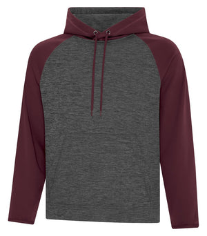 ATC DYNAMIC FLEECE TWO TONE HOODIE - UNISEX - F2047 - Charcoal/Maroon - Ends Monday overnight - Ready to Ship Friday