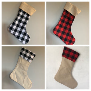 Stockings - Burlap & Plaid - ENDS SEPT 20 - READY TO SHIP EARLY NOV