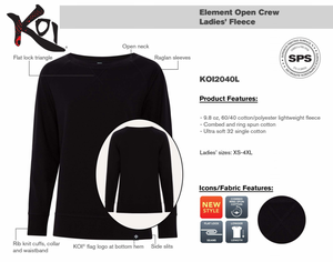KOI ELEMENT CREW FLEECE - LADIES' - BLACK - KOI2040L