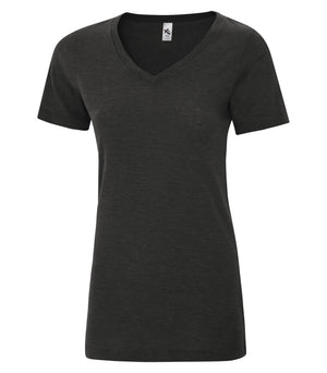 KOI® TRIBLEND V-NECK LADIES' TEE. KOI8022L - Charcoal Triblend - ENDS MONDAY OVERNIGHT - READY TO SHIP FRIDAY