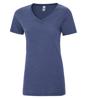 KOI® TRIBLEND V-NECK LADIES' TEE. KOI8022L - Navy Triblend - ENDS MONDAY OVERNIGHT - READY TO SHIP FRIDAY