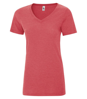 KOI® TRIBLEND V-NECK LADIES' TEE. KOI8022L - Red Triblend - ENDS MONDAY OVERNIGHT - READY TO SHIP FRIDAY