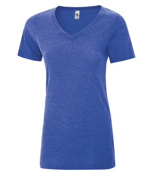 KOI® TRIBLEND V-NECK LADIES' TEE. KOI8022L - Royal Triblend - ENDS MONDAY OVERNIGHT - READY TO SHIP FRIDAY