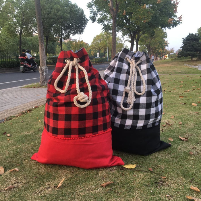 Santa Sacks - Buffalo Plaid with rope tie - Extras - Ready to ship end of Nov