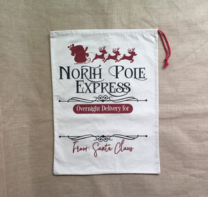 Santa Sacks buy in - North Pole Express new - ENDS Oct 4 - READY TO SHIP MID NOV