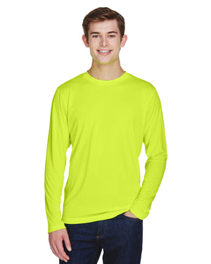 TT11L Team 365 Performance Mens Polyester Long Sleeve Shirt - SAFETY YELLOW - ENDS Monday night - Ready to ship Friday