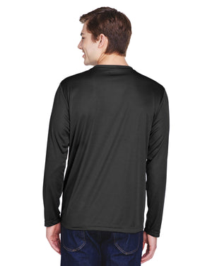 TT11L Team 365 Performance Mens Polyester Long Sleeve Shirt - BLACK - ENDS Monday night - Ready to ship Friday