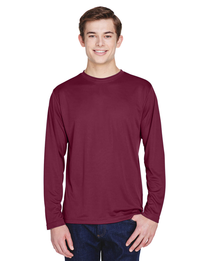 TT11L Team 365 Performance Mens Polyester Long Sleeve Shirt - SPORT MAROON - ENDS Monday night - Ready to ship Friday