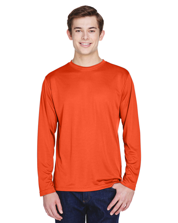 TT11L Team 365 Performance Mens Polyester Long Sleeve Shirt - SPORT ORANGE - ENDS Monday night - Ready to ship Friday