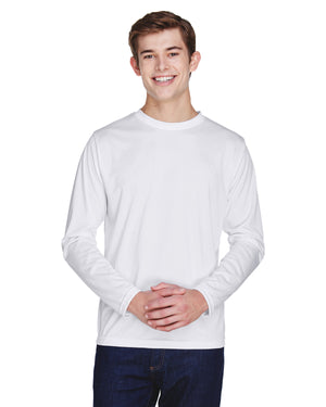 TT11L Team 365 Performance Mens Polyester Long Sleeve Shirt - WHITE - ENDS Monday night - Ready to ship Friday