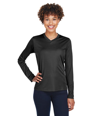 TT11L Team 365 Performance Womens Polyester Long Sleeve Shirt - BLACK - ENDS Monday night - Ready to ship Friday