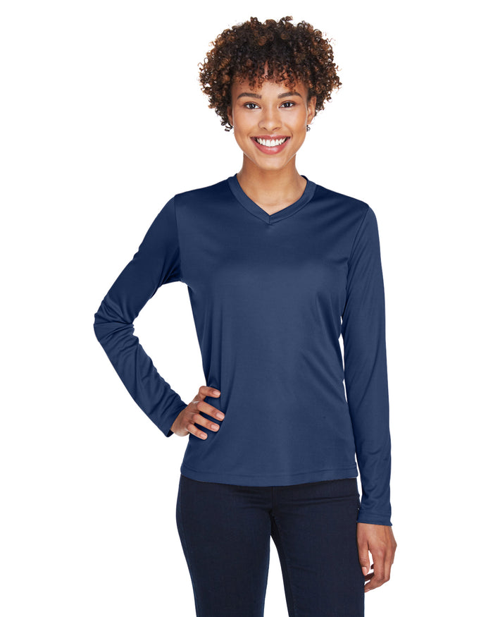 TT11L Team 365 Performance Womens Polyester Long Sleeve Shirt - SPORT NAVY - ENDS Monday night - Ready to ship Friday