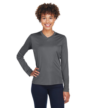 TT11L Team 365 Performance Womens Polyester Long Sleeve Shirt - SPORT GRAPHITE - ENDS Monday night - Ready to ship Friday