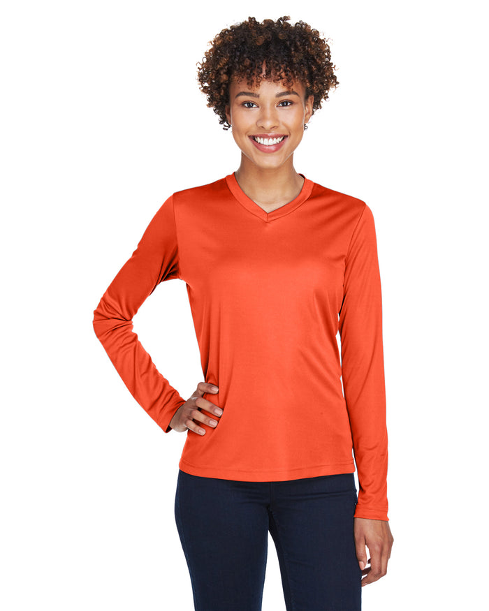TT11L Team 365 Performance Womens Polyester Long Sleeve Shirt - SPORT ORANGE - ENDS Monday night - Ready to ship Friday