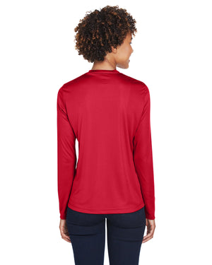 TT11L Team 365 Performance Womens Polyester Long Sleeve Shirt - SPORT RED - ENDS Monday night - Ready to ship Friday