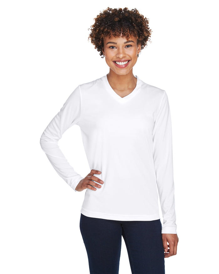 TT11L Team 365 Performance Womens Polyester Long Sleeve Shirt - WHITE - ENDS Monday night - Ready to ship Friday