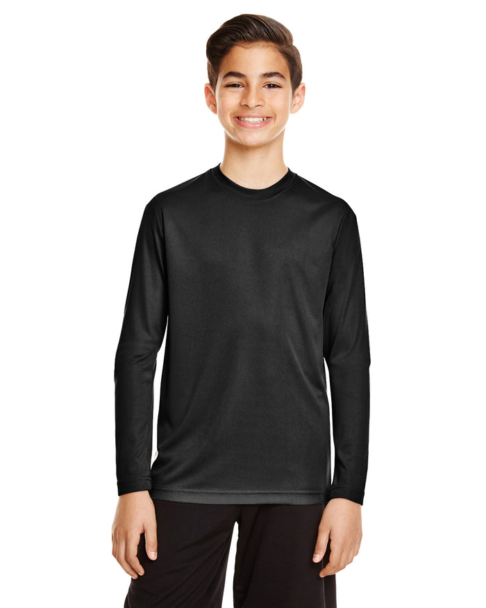 TT11LY Team 365 Performance Youth Polyester Long Sleeve Shirt - BLACK - ENDS Monday night - Ready to ship Friday