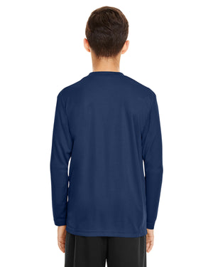 TT11LY Team 365 Performance Youth Polyester Long Sleeve Shirt - NAVY - ENDS Monday night - Ready to ship Friday