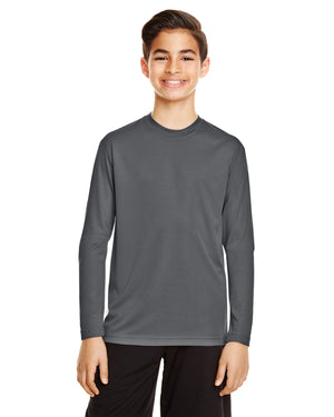 TT11LY Team 365 Performance Youth Polyester Long Sleeve Shirt - SPORT GRAPHITE - ENDS Monday night - Ready to ship Friday