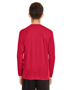 TT11LY Team 365 Performance Youth Polyester Long Sleeve Shirt - SPORT RED - ENDS Monday night - Ready to ship Friday
