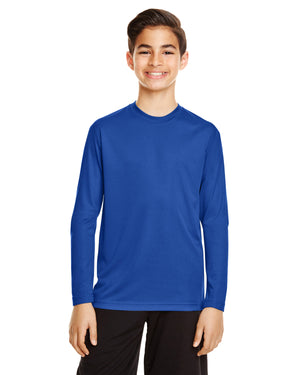 TT11LY Team 365 Performance Youth Polyester Long Sleeve Shirt - SPORT ROYAL BLUE - ENDS Monday night - Ready to ship Friday