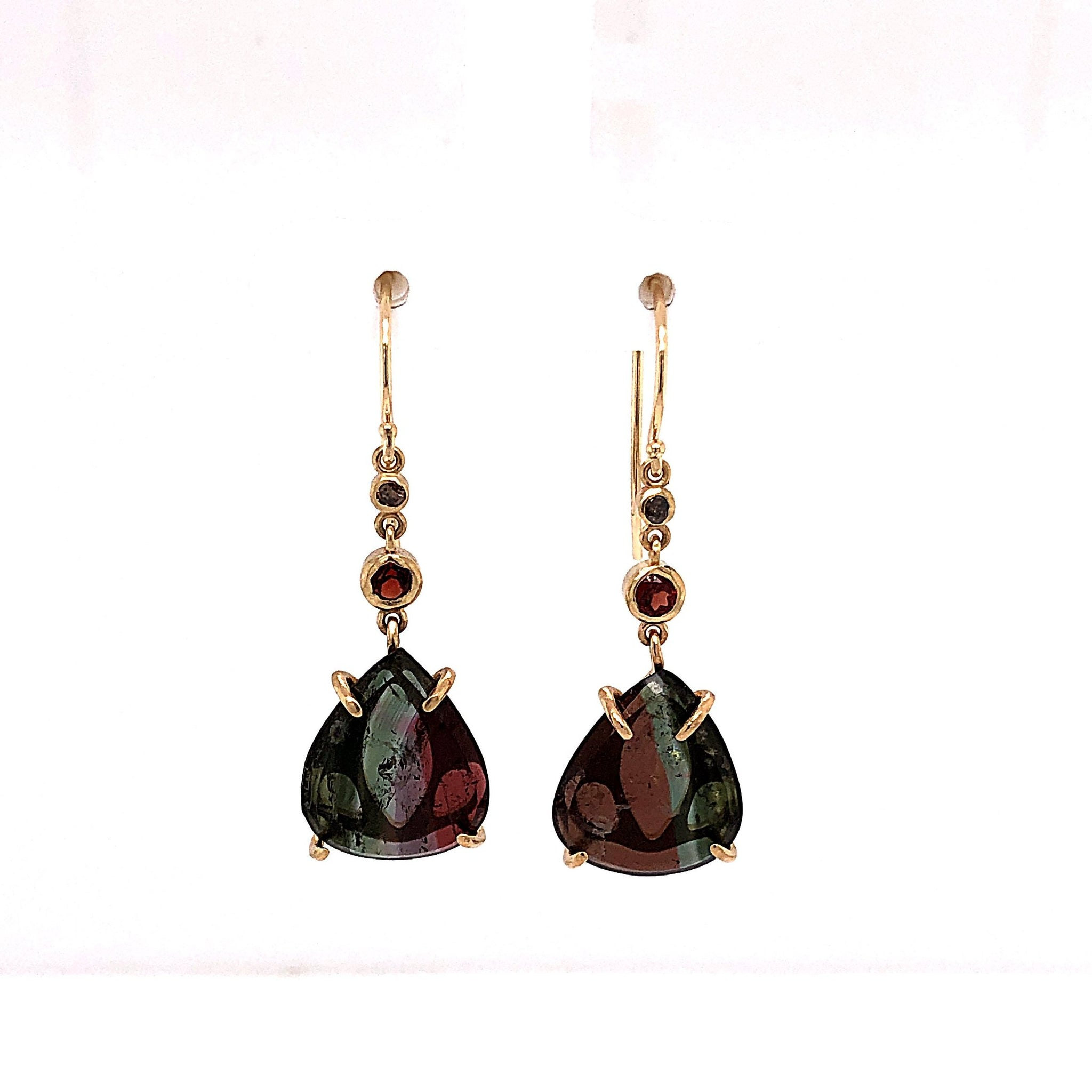 Tourmaline Earrings with Diamonds and Garnets, Handmade 14k Gold (One-of-a-Kind)