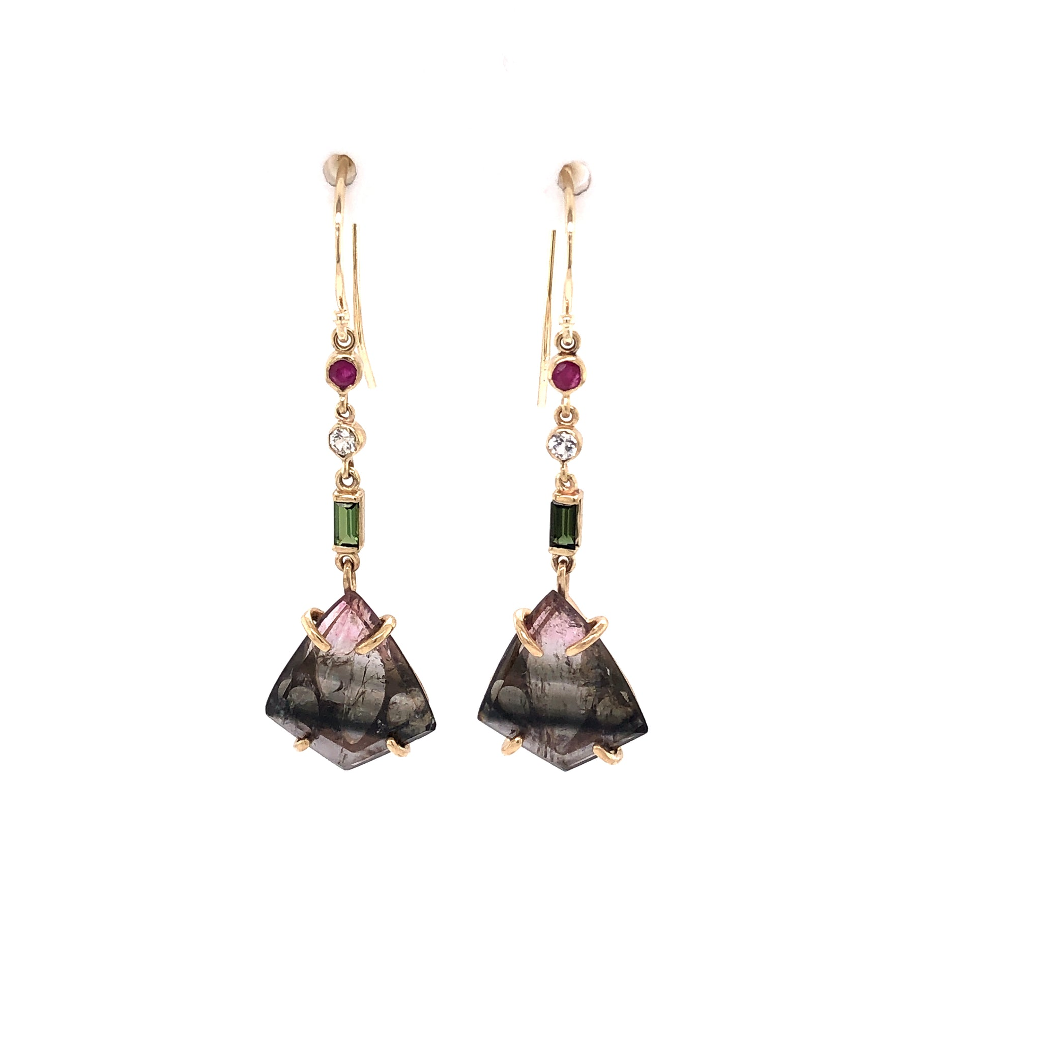 Tourmaline, Ruby, and White Sapphire Earrings, Handmade in 14k Gold (One-of-a-Kind)
