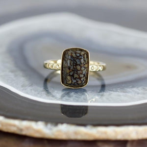 Rectangle Stone and White Diamonds Ring, Handmade in 14k Gold (Customizable)
