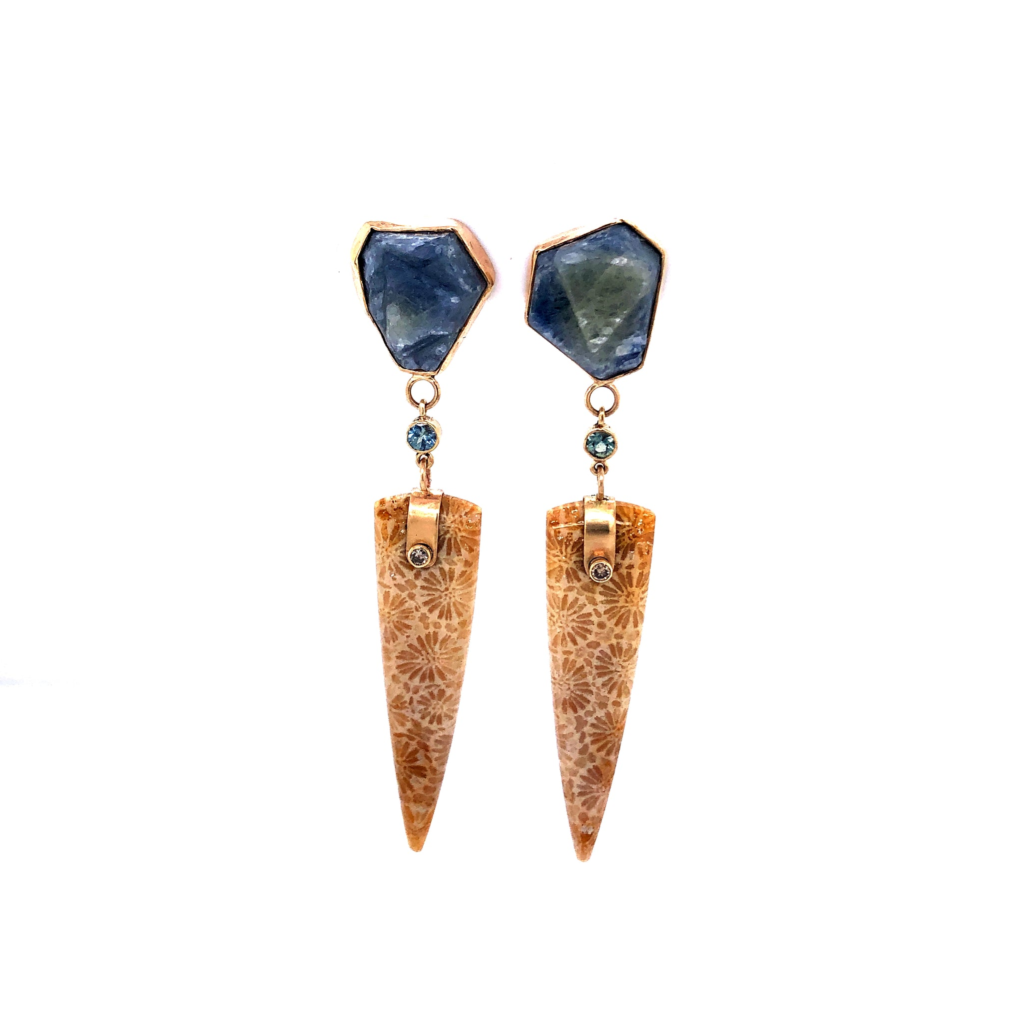 Sapphire and Fossilized Coral Earrings, Handmade in 14k Gold