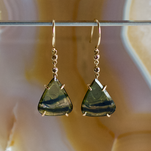 Tourmaline Earrings with Diamond, Handmade in 14k Gold (One-of-a-Kind)