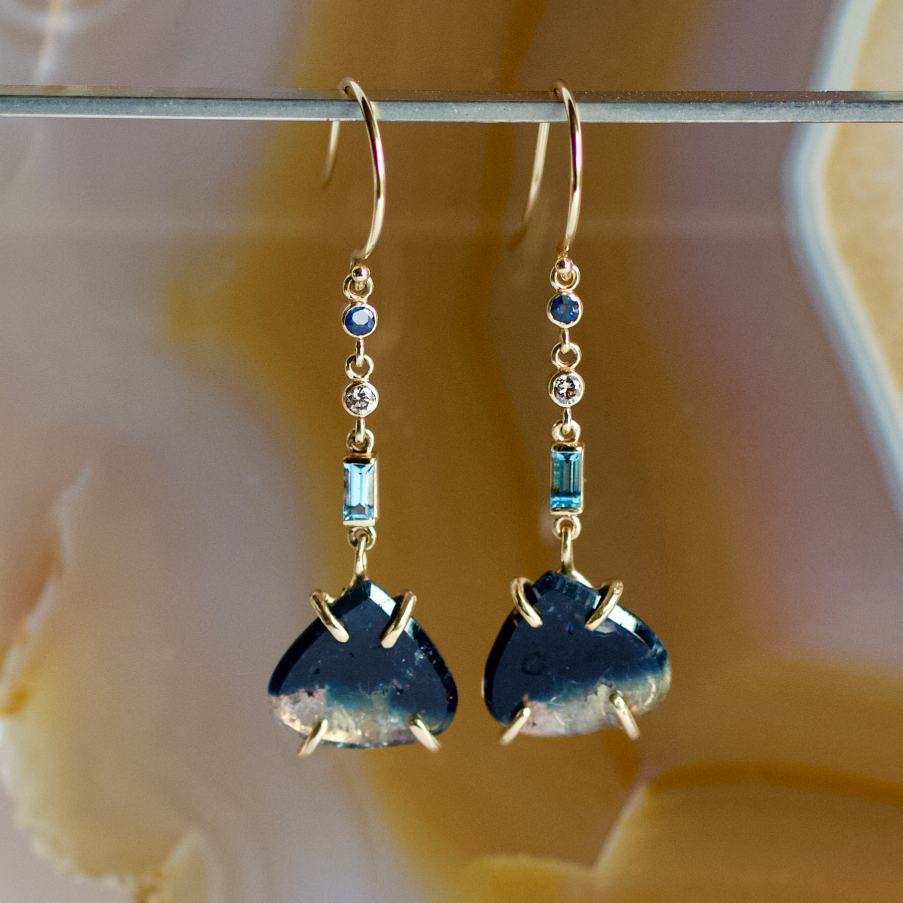 Tourmaline, Sapphire, Diamond, and Topaz Earrings, Handmade in 14k Gold (One-of-a-Kind)